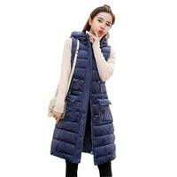 2018 Winter Gold Velvet Vest Women Korean Style Warm Jacket Women Long Parka Sleeveless Hooded Cotton Padded Waistcoat Vests