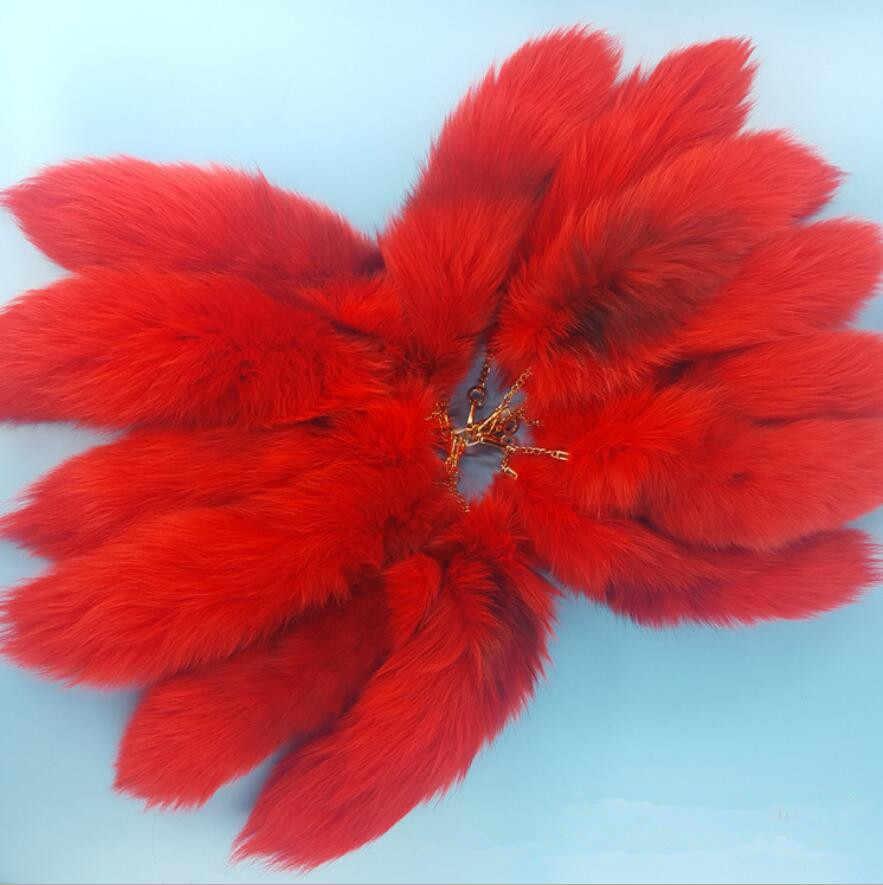 Chave Charme Vermelho tingido Verdadeira Raposa Cauda Chaveiro Bolsa saco tag Real fox fur quente cor brilhante Cosplay Asscessory atacado preço A81