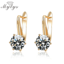 Mytys Prong Setting Crystal Drop Earring for Women Clear Crystal Metal Gold Color Wedding Jewelry Fashion CE261