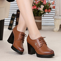 Genuine leather woman shoes 2017 spring new thick with high-quality cowhide shoes wedding heels # 34, free shipping