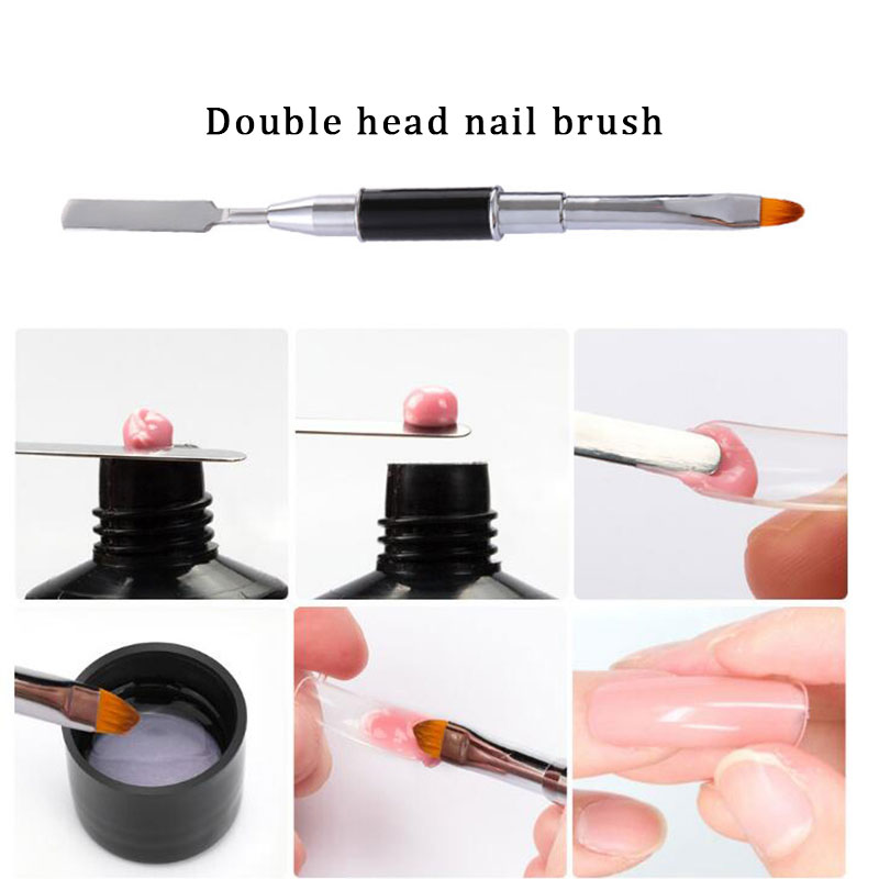 Dual Head Nail Art Acrylic UV Poly GEL Extension Builder Drawing Pen Brush Poly Gel Removal Spatula Stick Manicure Tool