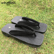 WHOHOLL Summer Flip Flops Man Sandals Japanese clogs Wooden Slippers Paulownia Clog Native Shoes Round Toe Cosplay Costume geta