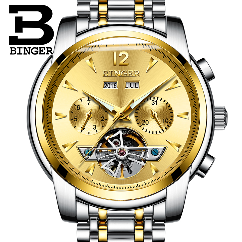 2017 New Fashion Men Mechanical Watch BINGER Golden Top Brand Luxury Steel Automatic Classic Skeleton Wristwatch BEST Gift|gift gifts|gift men|gifts watch - title=
