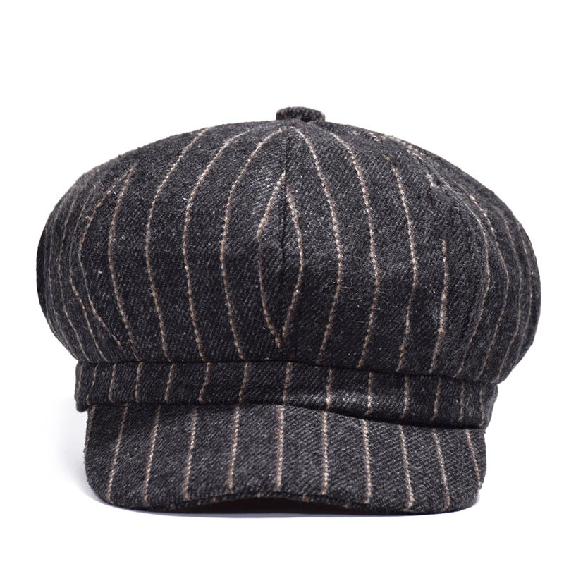 Autumn Winter Striped Felt Beret Hat Women Men Artist Visor Beanie Hat Dome  Fashion Male Lady Outdoor Hats Vintage Painter Cap -in Visors from Apparel  ... 85b72a31bb3