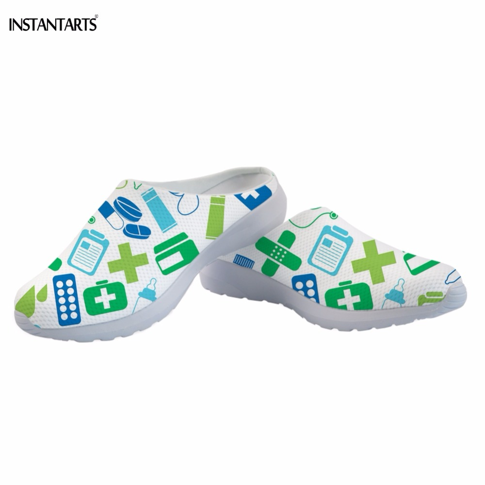 INSTANTARTS Hospital/Nurse Pharmacy Tech Pattern White Female Beach Shoes Outdoor Light Summer Slippers Air Mesh Sandals Adults