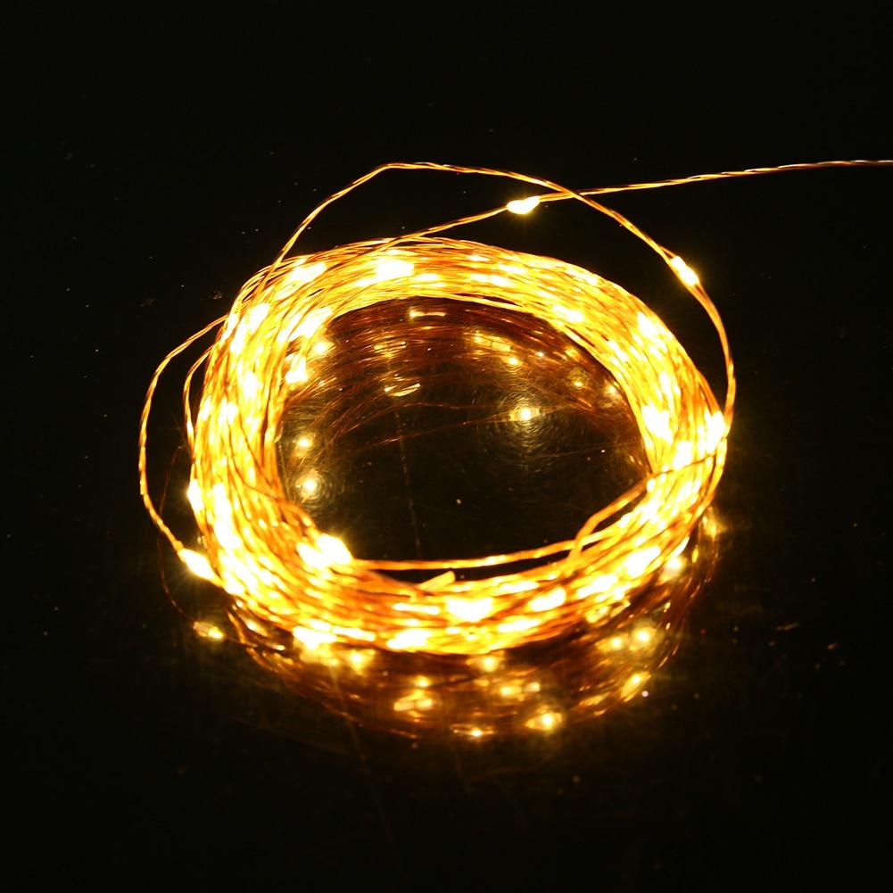 10m 100LED Waterproof Copper Wire Strip Lights 5V USB Warm White String Light Strip Christmas Festival Wedding Party Decoration