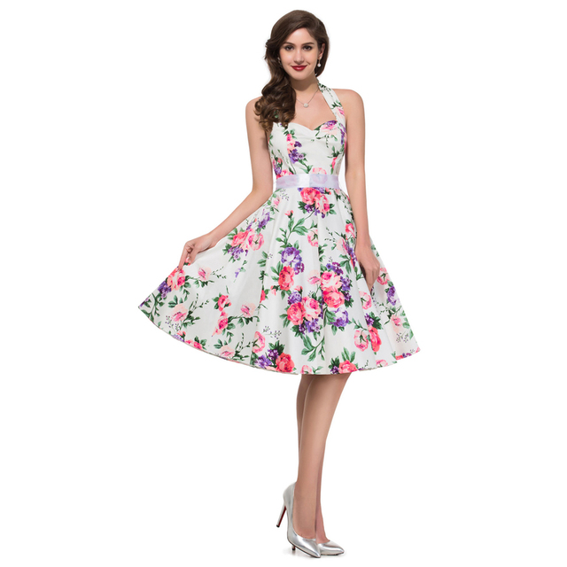 dcb20fa3338 2015 Sexy Summer Plus Size Women Dress Vintage Party Gown Floral Print  Pattern Dresses Short 50s style swing Ball Gowns 6075