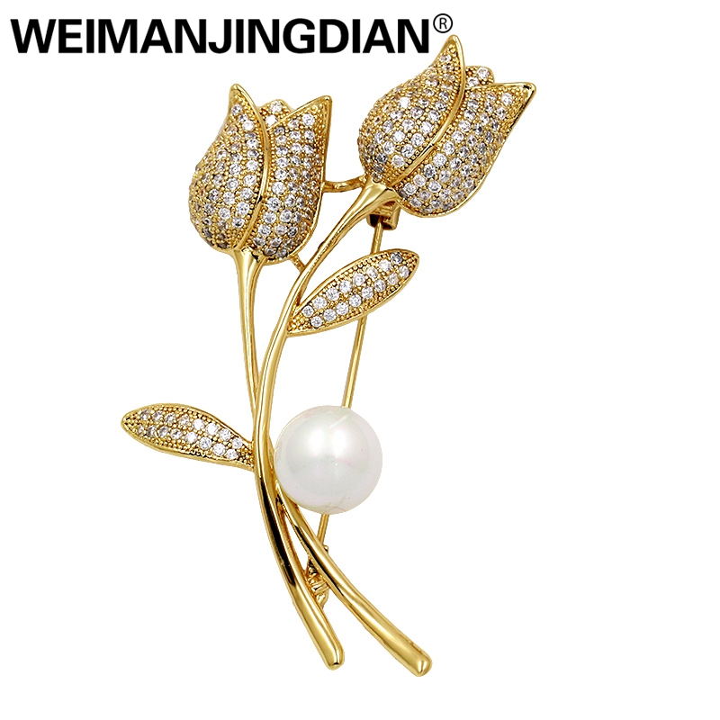WEIMANJINGDIAN Brand High Quality Cubic Zirconia Twin Tulip Flower Brooches for Women or Wedding in Silver and Gold Colors