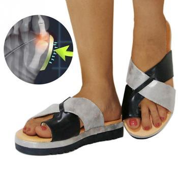 a2540b83 Sandalias artificiales de PU para mujer, zapatos ortopédicos, Corrector de  Bunion, plataforma cómoda, cuña, señoras, Casual, zapatillas de corrección  de ...