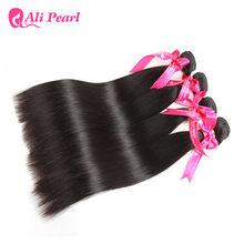 AliPearl Haar Gerade Menschliches Haar Bundles 4 stücke Schuss Brasilianische Haarwebart Bundles Natürliche Farbe 8-30 zoll Remy haar Extensions