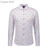 New Long Sleeves Men Slim Shirt Brand Male Printing Plus Size 5xl Cotton Shirt Casual Business