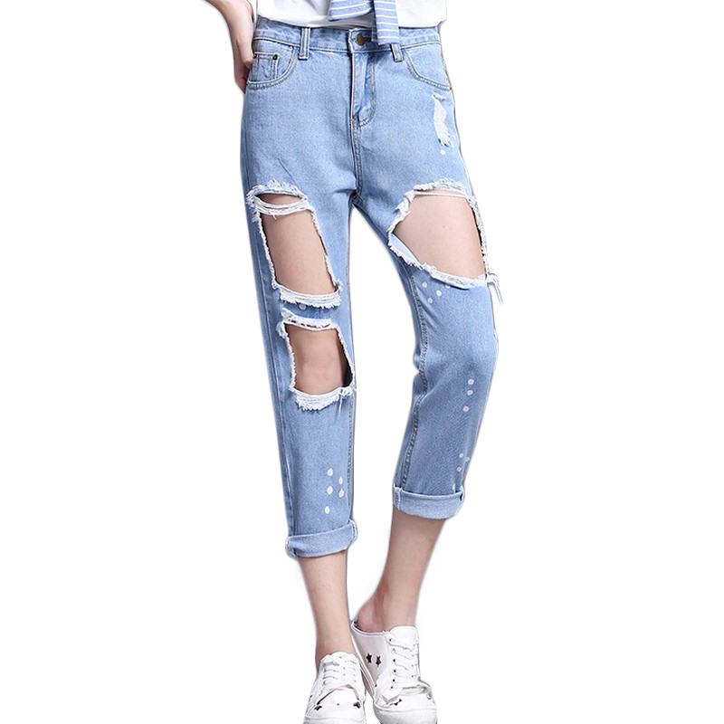 Destroyed Splatter Paint High Waist Cropped Jeans For Women Spring 2017 New Casual street Straight Slim-Fit Harem Torn Jeans kobeinc white jeans for women summer 2017 new casual fashion high waist printing slim fit cropped jeans trousers jeans femme