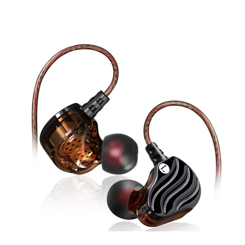 Earphone With Microphone Stereo Earbuds Double Moving Coil 4 Unit Heave Bass In Ear Earphones HIFI Monitor Earplug Headset