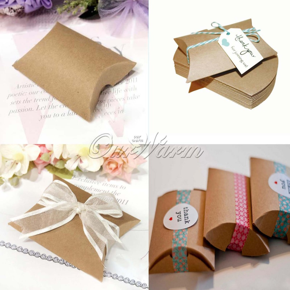 Wedding Gift Boxes 100pcs New Style Kraft Pillow Shape Wedding Favor ...