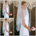 The Best Selling 2016 White Bridal Veils Beads Pencil Edge Two Layers Tulle Fingertip Length Wedding Veils