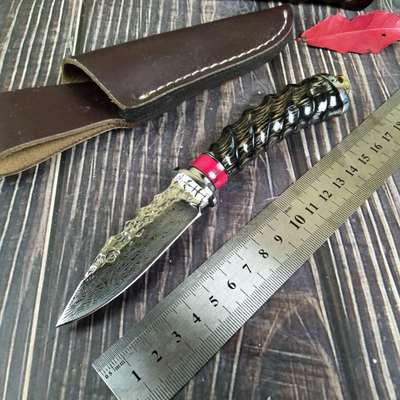 Damascus steel Portable Tactical army Survival Gear knife high hardness straight hunting knife essential tool self-defense CS GO