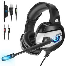 ONIKUMA game Headset Deep Bass Stereo Gaming Headphones with Microphone Wired Earphone LED light for Computer PC PS4 Laptop Xbo(China)