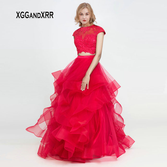 Elegant O Neck Cap Sleeves Red Two Pieces Prom Dress 2019 Keyhole Back Ruffle Lace Applique Long Tulle Graduation Party Gown
