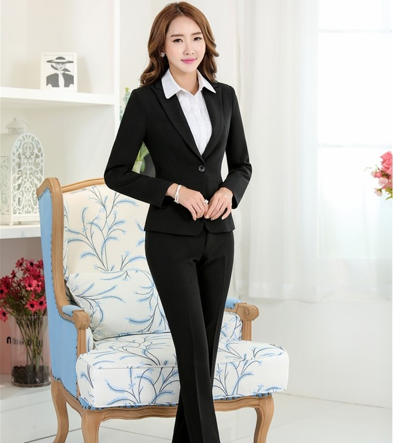 Plus Size Autumn Winter Formal OL Style Female Pantsuits ...