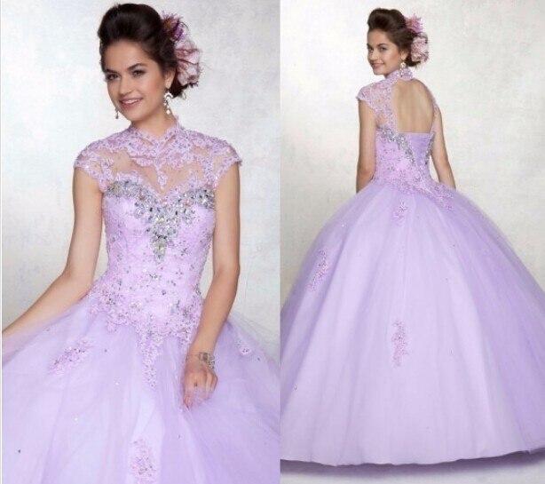 2016 Debutante Curto Doce 15 Anos Roxo Barato Vestidos Quinceanera vestido de Baile Lace Sexy Cap Manga Curta Vestido de Debutante Vestido