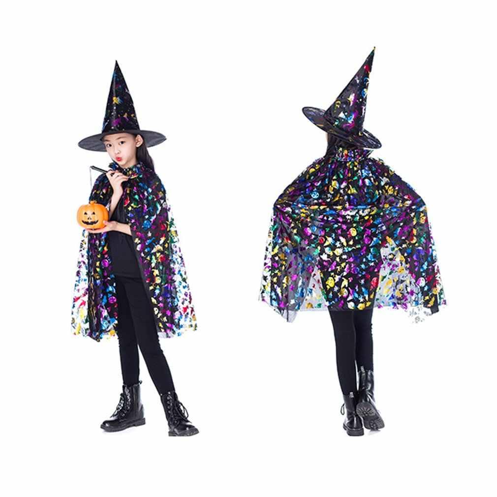 新ゴールド子供ハッピーハロウィンマジシャン衣装セットウィザード魔女マント岬ローブと帽子少年少女ギフト