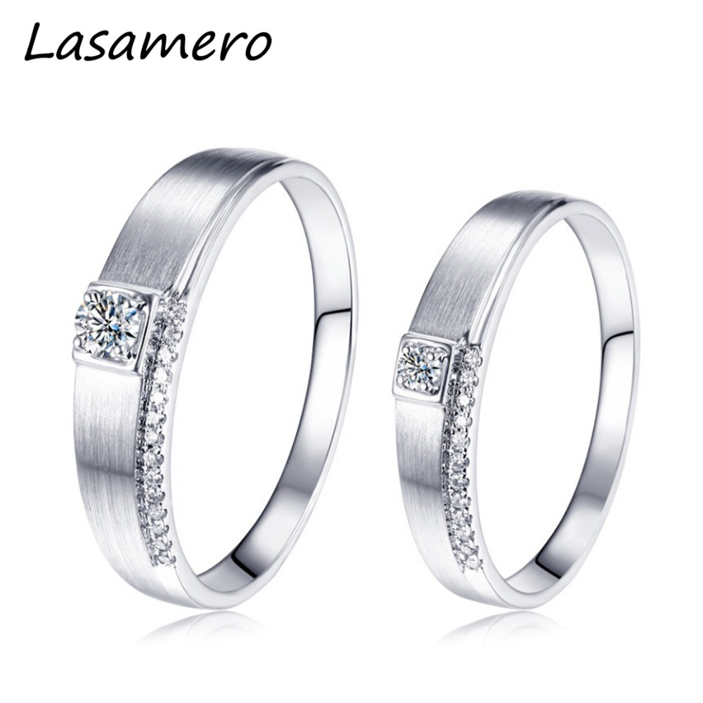 LASAMERO Solitaire Rings for Men and Women 0.065CT Round Cut Natural Diamond Couple Rings 18k White Gold Engagement Wedding Ring yoursfs 18k white gold plated austria crystal soliraire anniverary rings with princess cut