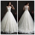 2016 Amelia Sposa Lace Wedding Dresses Scoop Neck Tulle Applique Court Train A Line Bridal Gowns With Buttons Back