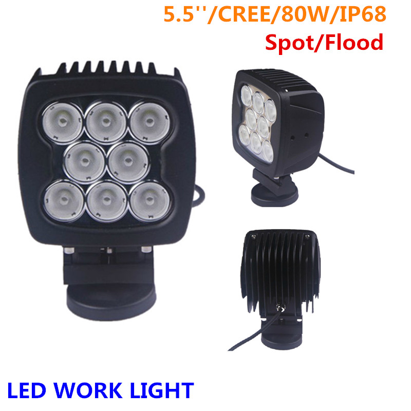 1 pc Lantsun 5.5 inch 80w square led work light for truck DC10~30V IP68 waterpoof