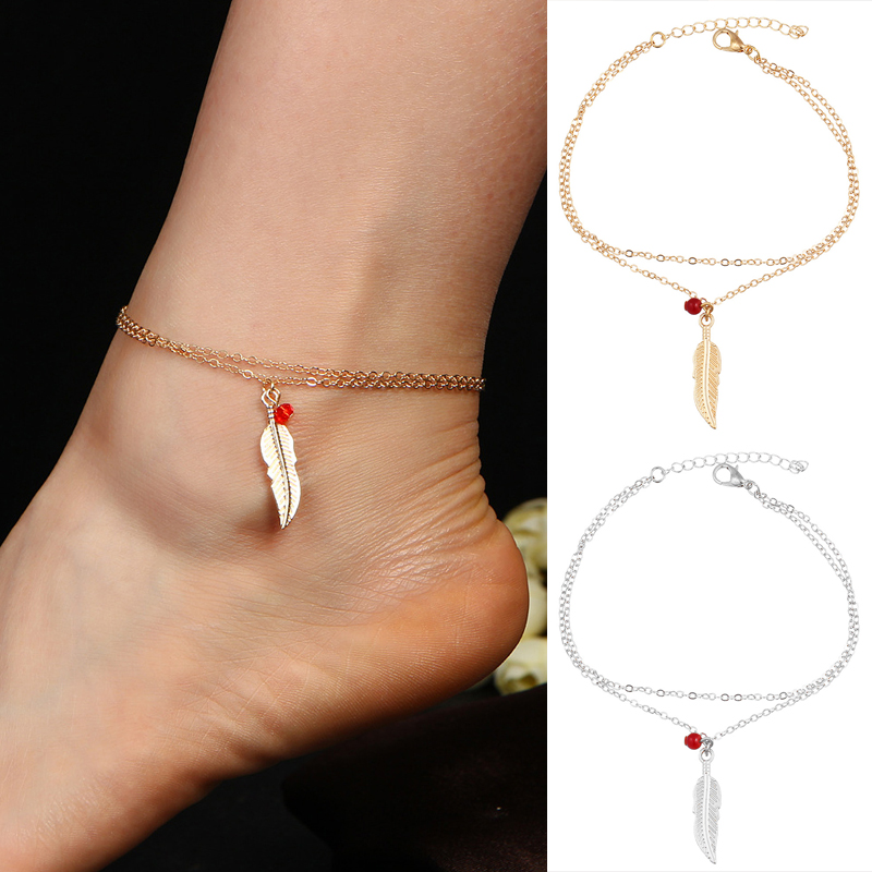 LNRRABC New Double Layer Women Anklet Beads Feathers Leaves Anklets Gift Beautiful Gift Golden Silvery