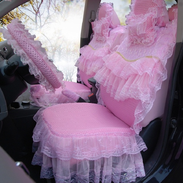 Women car seat covers set cushion pad pink flower lace skirt 3d mesh women car seat covers set cushion pad pink flower lace skirt 3d mesh cover 19 pieces mightylinksfo