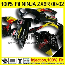 8Gifts Injection mold Body For KAWASAKI NINJA ZX-6R 00-02 1HM87 ZX 6R ZX6R 00 01 02 ZX636 2000 2001 2002 Fairing yellow black