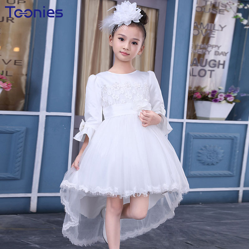 Wedding Children Dress Lace Flowers Princess Girls Dresses 2018 Solid Color Trailing Dress Birthday Show Party Kids Vestido Cute
