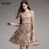 2018 Fashion Party Evening Woman Dress Exquisite Allover Embroidery Dress Ladies Sexy Tulle Lace Mesh Dress Princess Womens