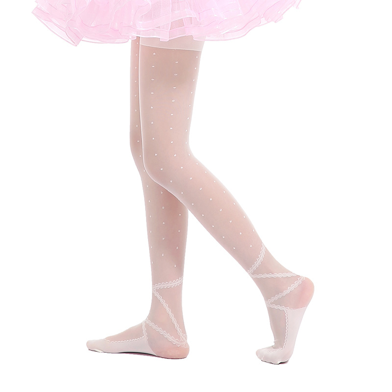 Child Ballet Footed Tights Professional Dance Socks Girls Elastic Transparent Stockings Ballet Dance Tube Pantyhose DN2325