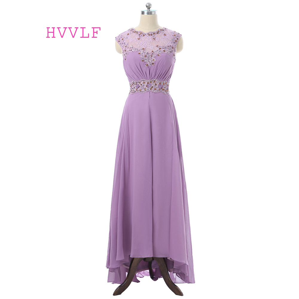 Light Purple Evening Dresses 2018 A-line Cap Sleeves Chiffon Lace Crystals Hi Low Long Evening Gown Prom Dress Robe De Soiree