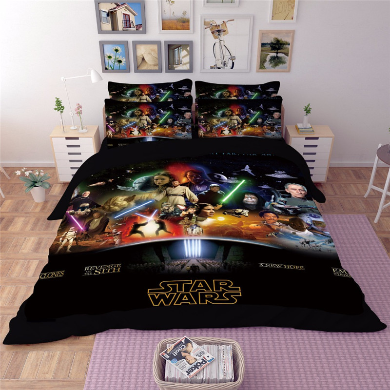 HD 5D 3D Star Wars Film Bedding Set King Queen full Twin Size 3PCS black Duvet