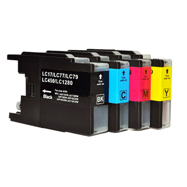 4pk printer cartridges for Brother LC12 LC17 LC71 LC40 LC73 LC75 LC77 LC79 LC400 LC450 LC1220 LC1240 LC1280