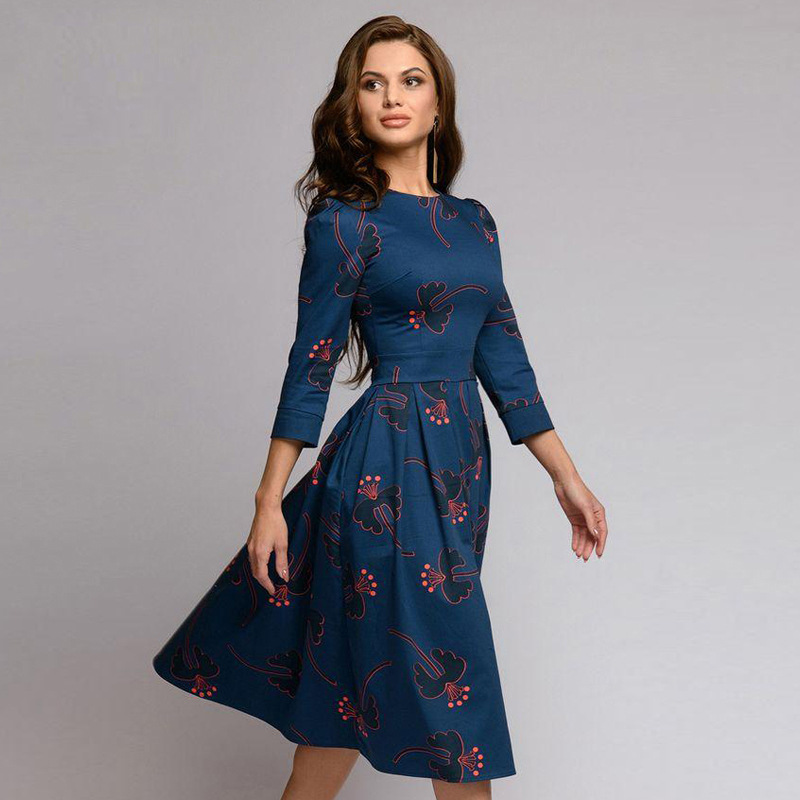 Spring Autumn Dress Women 39 s Floral Print Dress A line Dress Casual Vintage Loose Party casual Dresses Slim O Neck Panel Dress in Dresses from Women 39 s Clothing