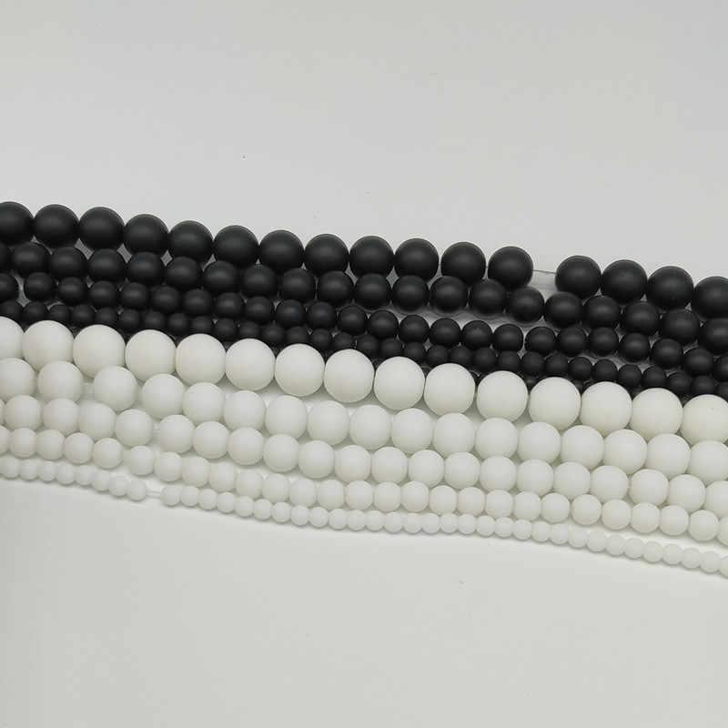 """الحجر الطبيعي الأبيض أسود مملة البولندية ماتي الجزع أجاتا جولة الخرز 16 """"/ستراند 4 6 8 10 12 14 مللي متر اختيار حجم"""