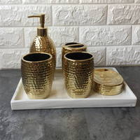 Bathroom Accessories Set Gold plating Soap Dispenser Toothbrush Holder Gargle Cup Bathroom Set With Ceramic Tray Wedding Gifts
