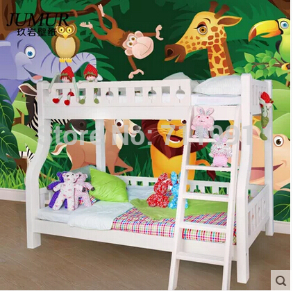 Custom large murals Cartoon animals of bedroom the head of a bed children room background wallpaper jungle general mobilization