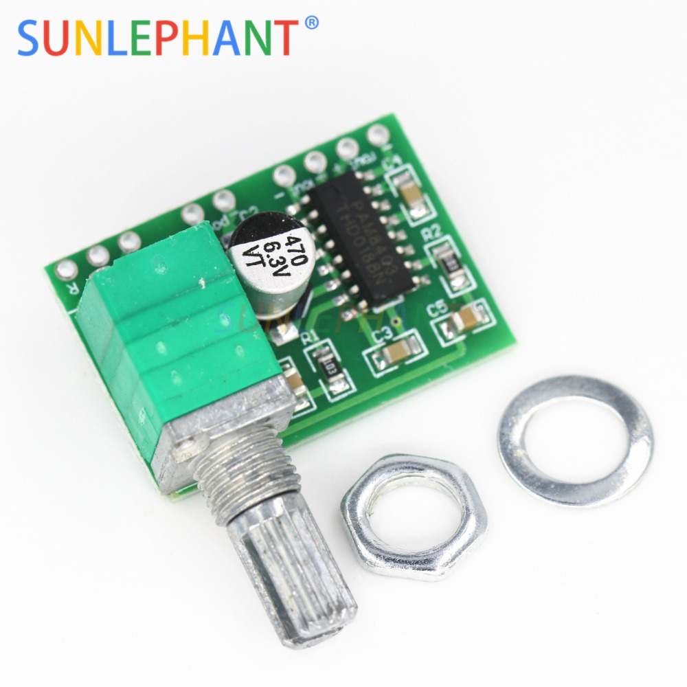 Mini PAM8403 DC 5V 2 Channel USB Digital Audio Amplifier Board Module 2 * 3W Volume Control with PotentionmeterMini PAM8403 DC 5V 2 Channel USB Digital Audio Amplifier Board Module 2 * 3W Volume Control with Potentionmeter
