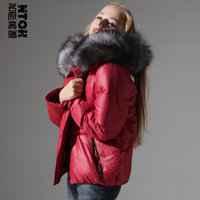 2018 Time limited Solid High Quality Down Jacket Women More High end Luxury Giant Fox Collars Brief Paragraph Real Big Yards