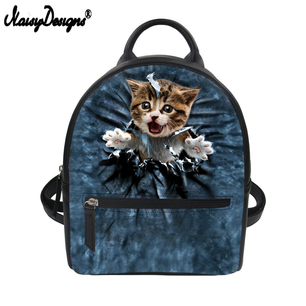 2c930bab04 Noisydesigns Women Backpacks 3D Denim Cat Female Girls School Bags Cute 3D  Dog PU Leather Teen Small Backpack Shoulder Bag Purse
