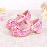 Qloblo Girls Shoes Cute Dream Cartoon Princess Shoes Sequins Pink Children S High Heels Leather Soles