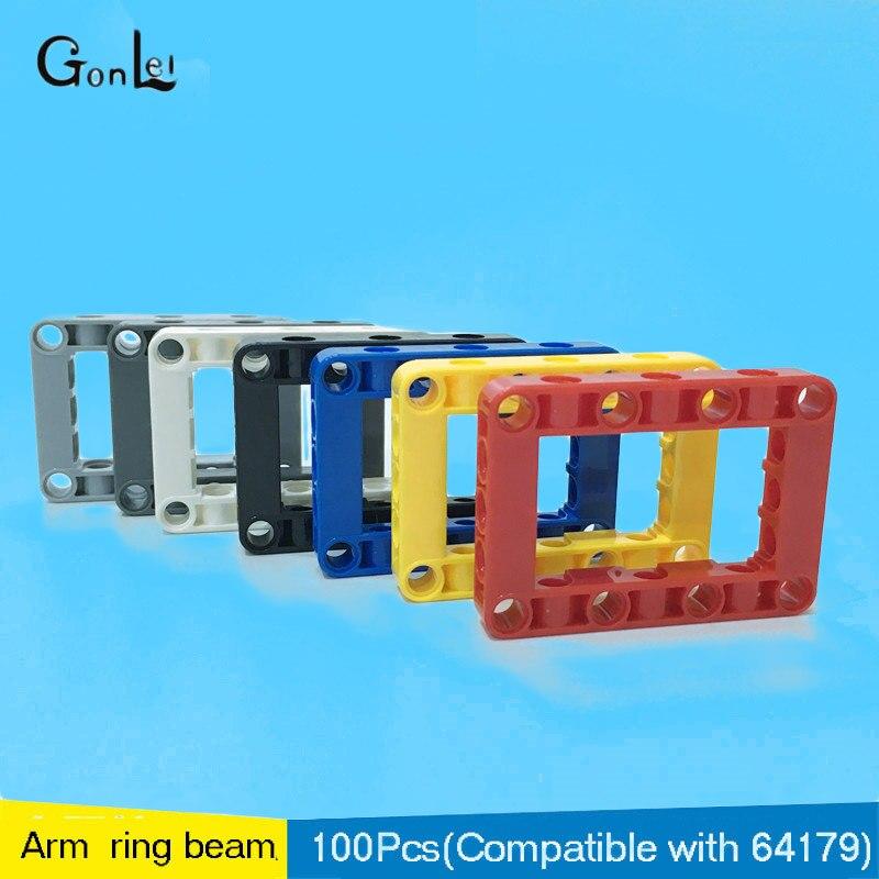 100Pcs lot Beam Frame 5X7 Arm Ring DIY Enlighten Block Brick Parts Toys Compatible with Technic