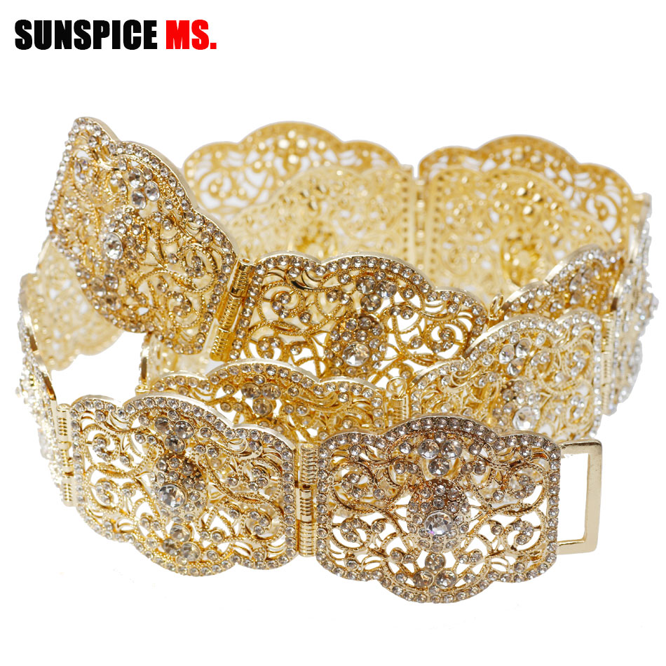 SUNSPICE MS Morocco Rhinestone Wedding Belt Adjust Length Gold Color Metal Crystal Bridal Caftan Waist Chain