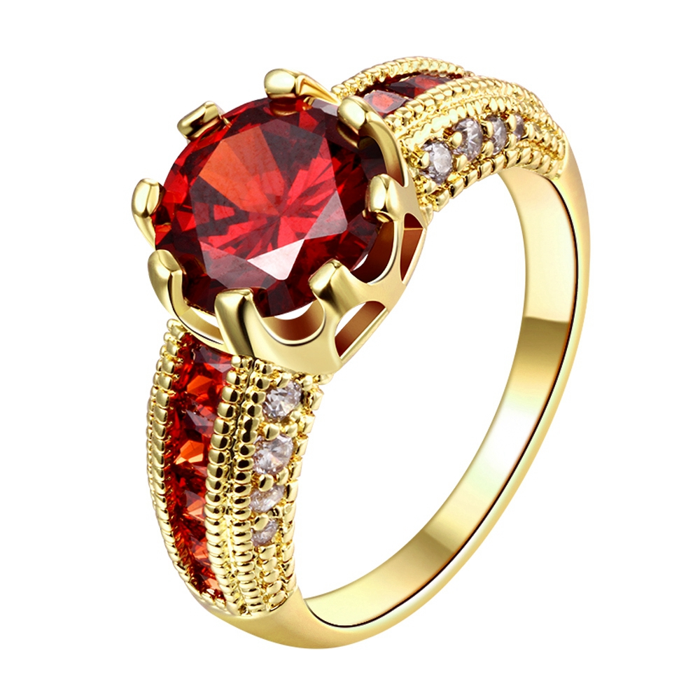 Cubic Zirconia Engagement Rings 2017 Luxurious Gold-Color Red Stone Finger Ring Women Fashion Jewelry For Party