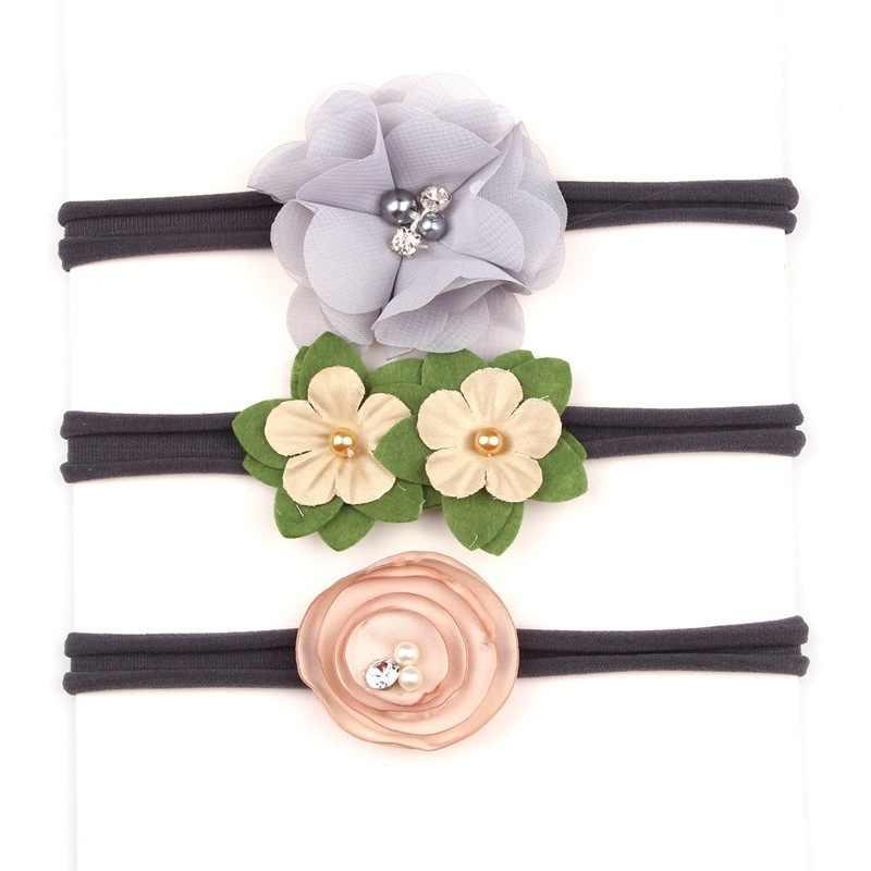 3 ชิ้น/เซ็ต Handmade ทารกแรกเกิดเด็กทารกดอกไม้ยืดหยุ่นผ้าไนลอน Hairband ทารกเด็กวัยหัดเดินโบว์ผมชุด
