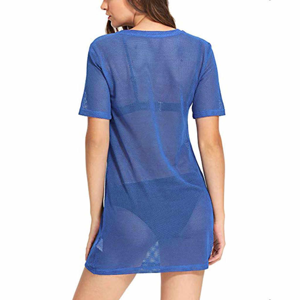 Kadın plaj kapak Ups kısa kollu See Through tam örgü T Shirt elbise shein elbise vestiti donna roupas feminina $3